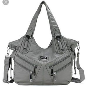 Handbags - Scarleton》Gray vegan hobo silver tone hardware